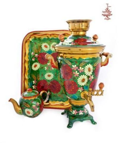 Самовар «Ромашки в маках» электрический в форме рюмки 4 л с подносом и чайником