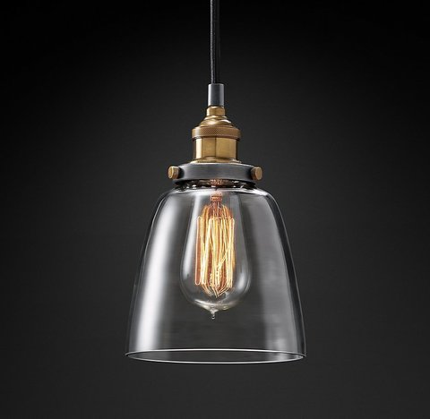 Подвесной светильник копия 20th C. Factory Filament Clear Glass Cloche Pendant by Restoration Hardware