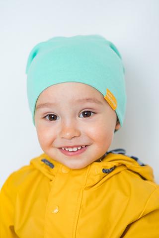 детская шапка хлопковая гладкая мятная