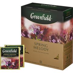 Чай Greenfield Spring Melody черный с ароматом фруктов и душистых трав 100 пакетиков