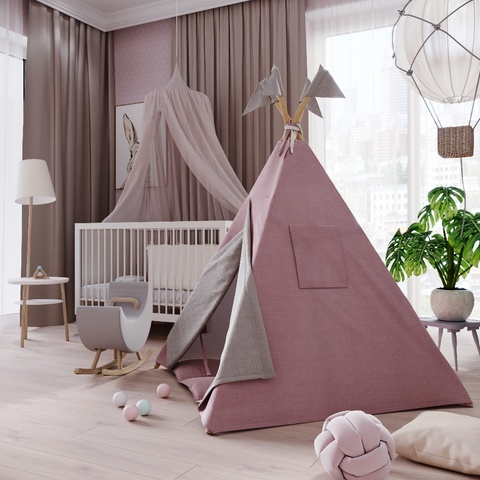 Вигвам для детей из розового льна с контрастными шторками