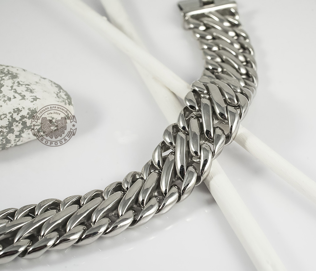 BM335 Очень тяжелый браслет - цепь из ювелирной стали на удобной застежке (23 см) фото 04