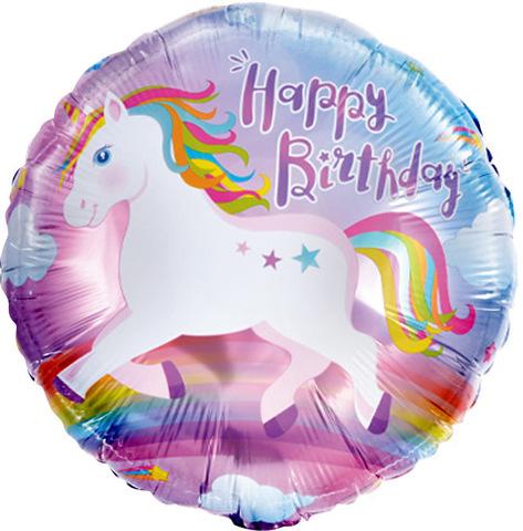 Шар круг С Днем рождения, Единорог, 46 см