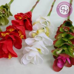 Искусственные цветы - ветка Бромелии силиконовой, 65 см.