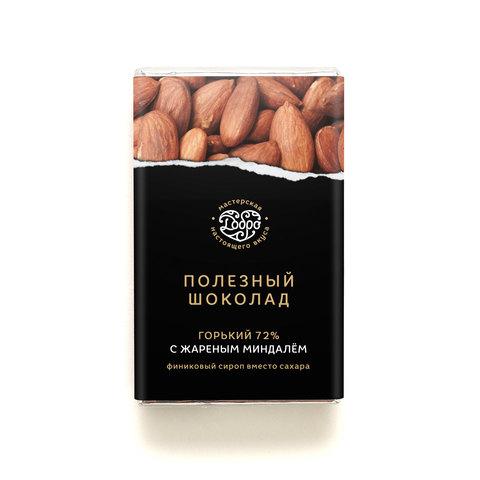 Шоколад горький, 72% какао, на финиковом пекмезе, с жареным миндалём
