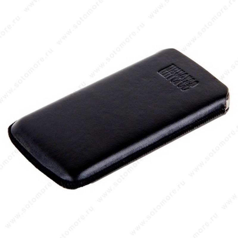 Чехол-пенал кармашек кожаный для iPhone 4s/ 4 c лентой для извлечения черный Турция