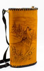 Фляга «Волк», чехол натуральная кожа с художественным выжиганием, 2 л, фото 4