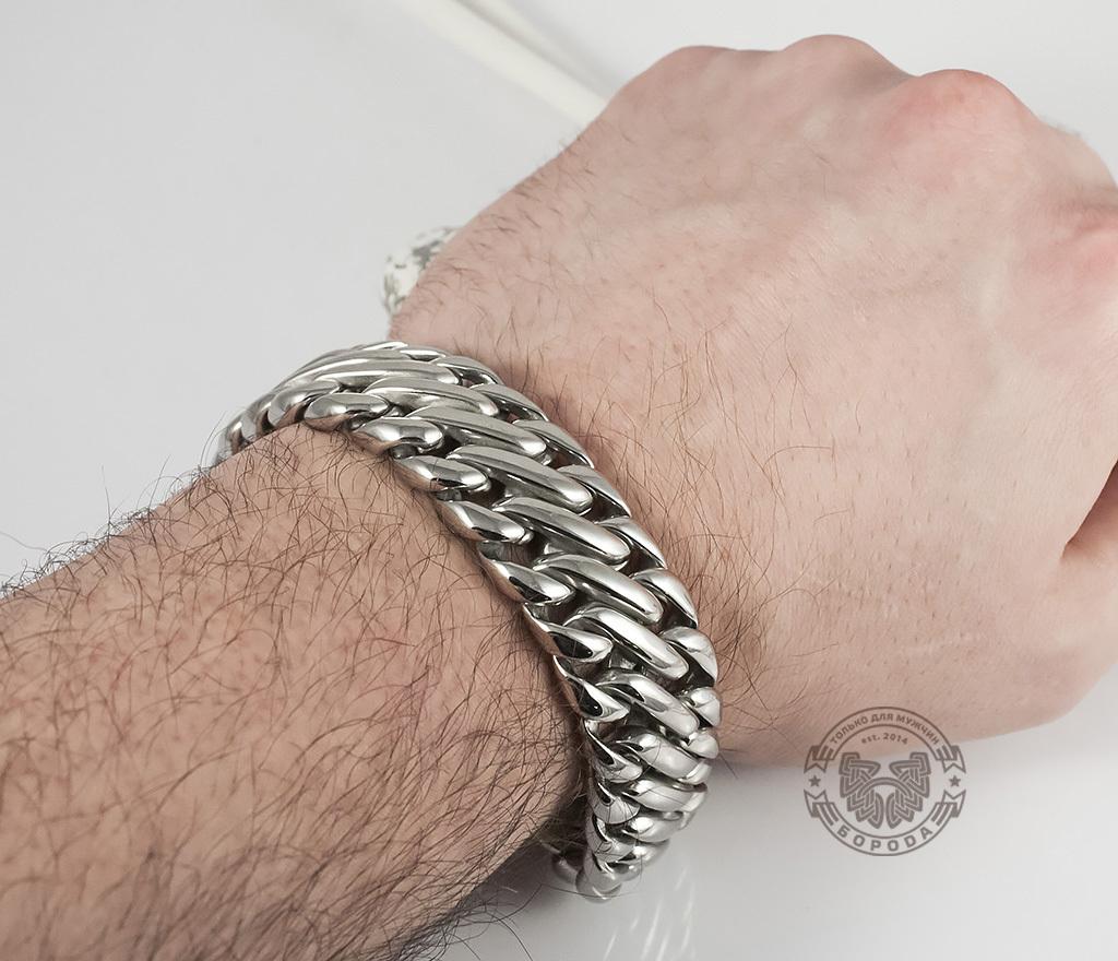 BM335 Очень тяжелый браслет - цепь из ювелирной стали на удобной застежке (23 см) фото 05