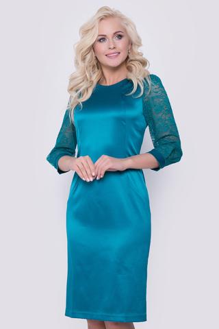 Женственное платье из королевского атласа с отделкой из гипюра-стрейч. Идеальная посадка гарантирует успех Вашему образу. По спинке замок.