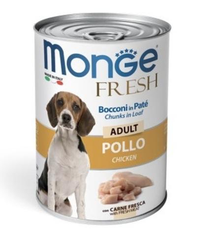 Monge Dog Fresh Chunks in Loaf консервы для собак мясной рулет курица 400 г