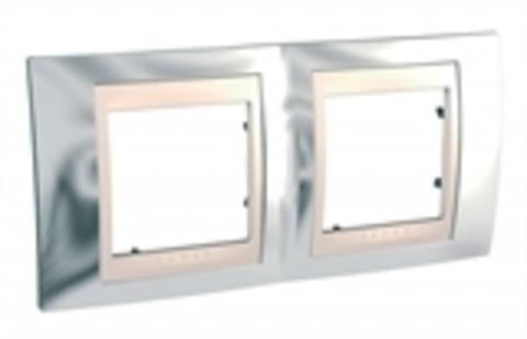 Рамка на 2 поста. Цвет Серебро/Бежевый. Schneider electric Unica Хамелеон. MGU66.004.510