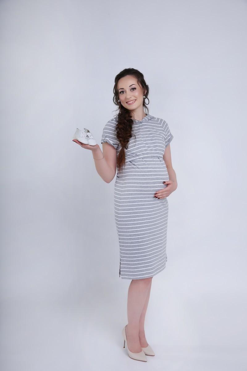 Фото платье для беременных и кормящих Magica bellezza, длинное от магазина СкороМама, серый в полоску, размеры.