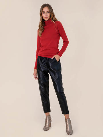 Женский свитер красного цвета из шерсти и шелка - фото 5
