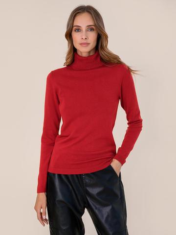 Женский свитер красного цвета из шерсти и шелка - фото 2