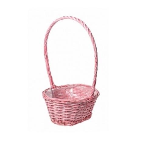 Корзина плетеная (ива), 28х23х13xH47см, розовый