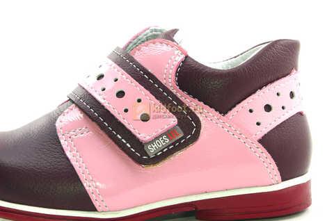 Ботинки Лель для девочек кожаные, демисезонные, ортопедические, на липучках, цвет бордо. Изображение 12 из 13.