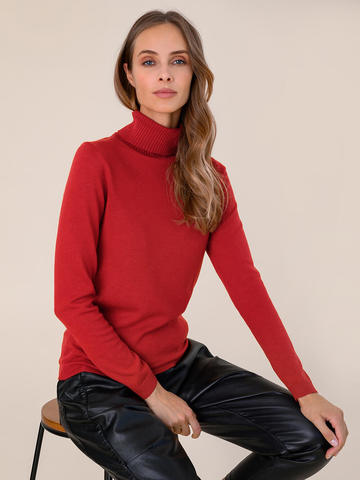 Женский свитер красного цвета из шерсти и шелка - фото 3