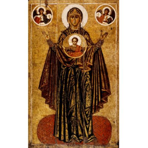 Икона Божией Матери Великая Панагия Оранта на дереве на левкасе