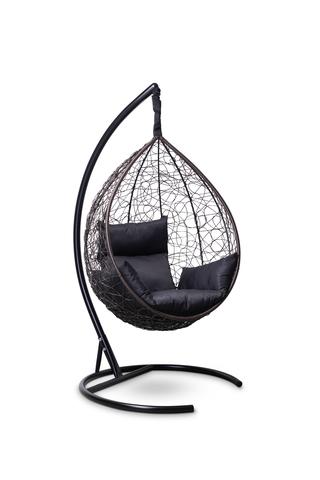 Подвесное кресло-кокон SEVILLA коричневое + каркас + черная подушка