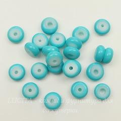 Бусина - рондель стеклянная  бирюзовая  8х4 мм, нить