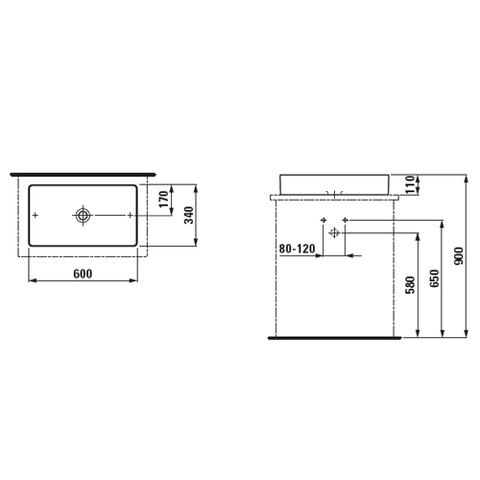 Раковина-чаша Laufen Living Square 60x34 8.1143.4.000.112.1 схема