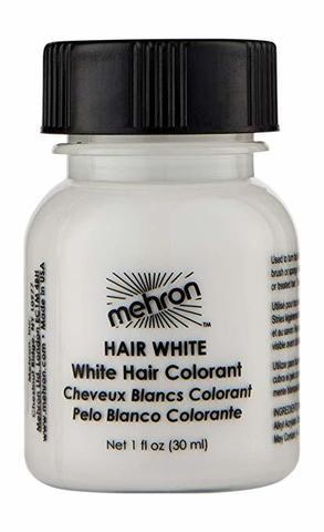 MEHRON Краска для волос Makeup Hair White With Brush, Белая, 30 мл