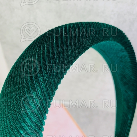 Бархатный широкий ободок для волос модный женский Зелёный