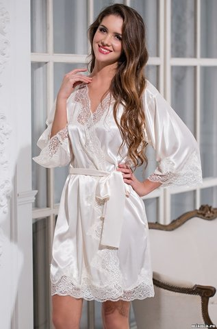 Короткий халат 3183 ISABELLA  (70% шелк)
