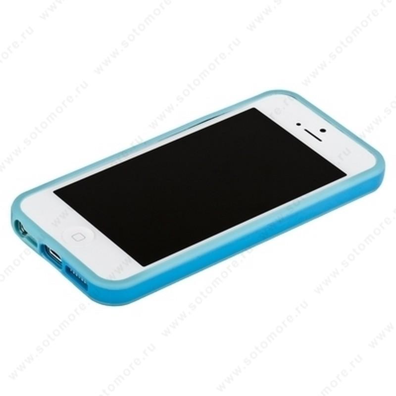 Бампер для iPhone 5C с полосой голубой с голубой