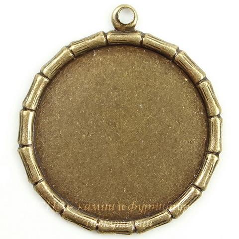 """Сеттинг - основа - подвеска """"Бамбук"""" для камеи или кабошона 18 мм (оксид латуни)"""