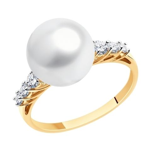 791164 - Кольцо из золота с жемчугом и фианитами Swarovski