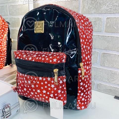 Рюкзак для девочки блестящий лаковый со звездами Чёрный с Красным