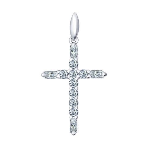94031380-Крест из серебра в стиле Tiffany с фианитами от SOKOLOV
