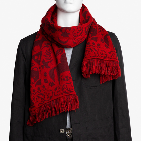 Red Mountain - burgundy tones  No. 6.2   (Fringed Scarf)