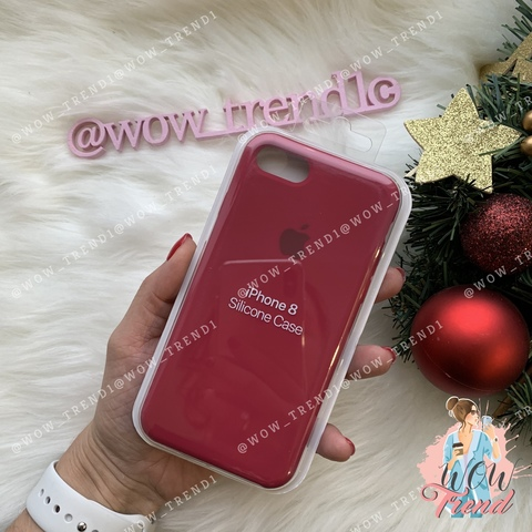 Чехол iPhone 7/8 Silicone Case /rose red/ малиновый 1:1