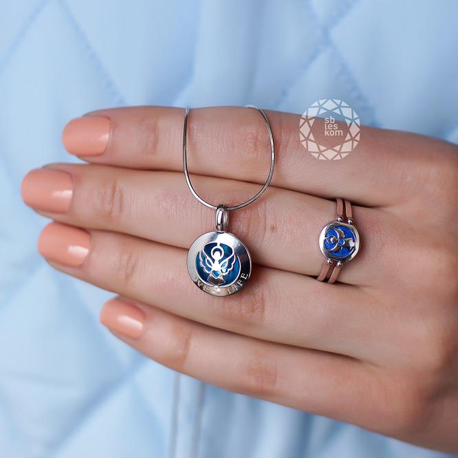 Кольцо-трансформер ангел из серебра с эмалью с фианитом