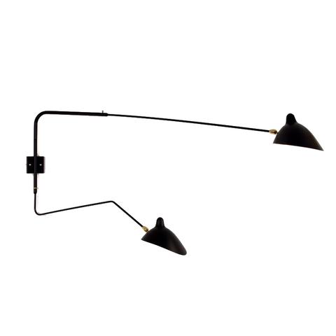 Настенный светильник AP2B1C Two Arms by Serge Mouille (черный)