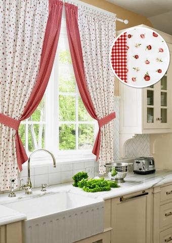 Комплект штор для кухни с подхватами Карен красный