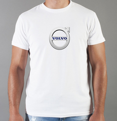 Футболка с принтом Вольво (Volvo) белая 004