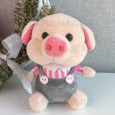 Поросёнок брелок Мистер Хрю символ 2019 года свинья (розовый-серый)