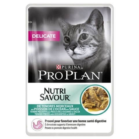 Purina Pro Plan NutriSavour Delicate feline with Ocean Fish in gravy рыба с соусе 85 г.