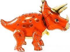 К Шар (36''/91 см) Ходячая Фигура, Динозавр Трицератопс, Оранжевый, 1 шт. в упак.