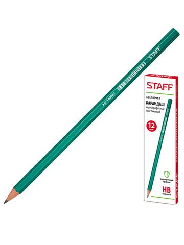 180962 карандаш ч/гр, пластиковый, заточенный (12шт.)
