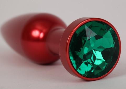 Анальная пробка металл 11,2х2,9см красная с зеленым стразом размер-L 47199-2-MM