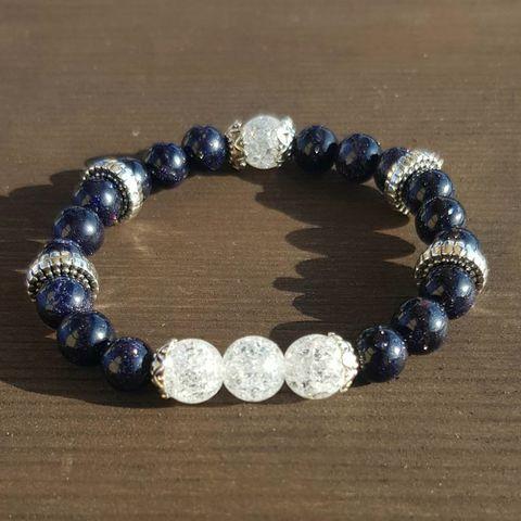 Браслет из натуральных камней: Сахарный кварц и Синий авантюрин