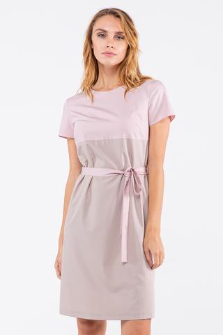 Фото прямое розовое платье с поясом и застежкой на спине - Платье З455-171 (1)
