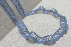 Кружево хлопковое, цвет темно-голубой