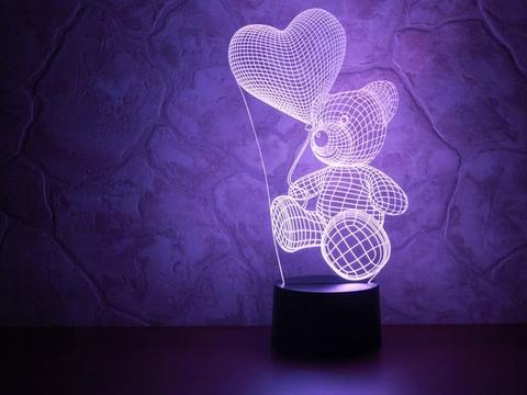 3D лампа Абстракция Медвежонок с шариком