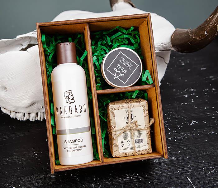 Набор из шампуня для волос, для бороды и угольного мыла для тела