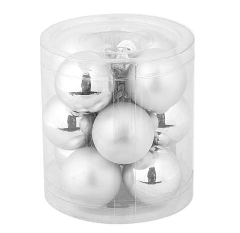 Набор шаров 12шт. в тубе (стекло), D4см, цветовая гамма: серебряная
